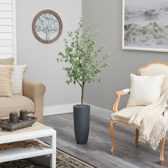 5 Eucalyptus Artificial Tree in Gray Planter - SKU #T2599 - 3