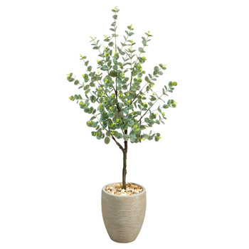 4.5 Eucalyptus Artificial Tree in Sand Colored Planter - SKU #T2600