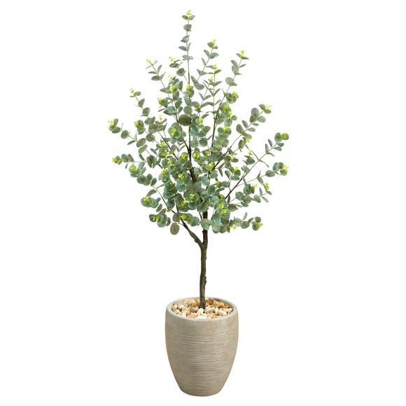 4.5 Eucalyptus Artificial Tree in Sand Colored Planter - SKU #T2600