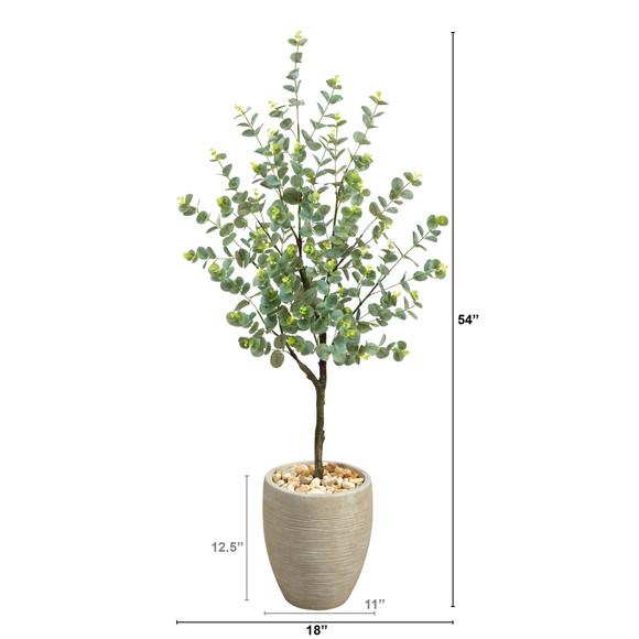 4.5 Eucalyptus Artificial Tree in Sand Colored Planter - SKU #T2600 - 1