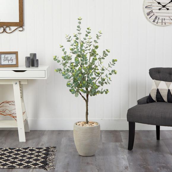 4.5 Eucalyptus Artificial Tree in Sand Colored Planter - SKU #T2600 - 2