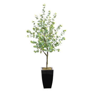 4.5 Eucalyptus Artificial Tree in Black Metal Planter - SKU #T2601