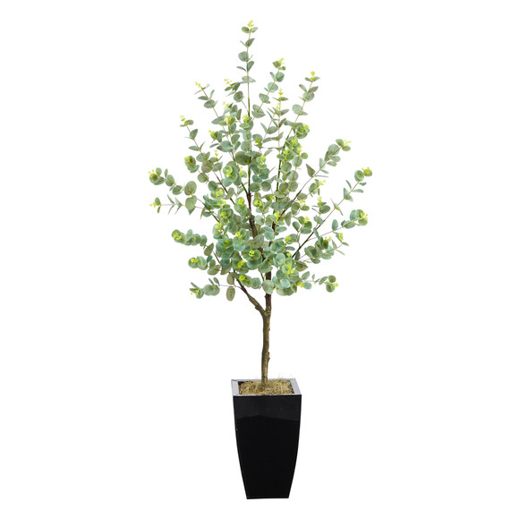 4.5 Eucalyptus Artificial Tree in Black Metal Planter - SKU #T2601