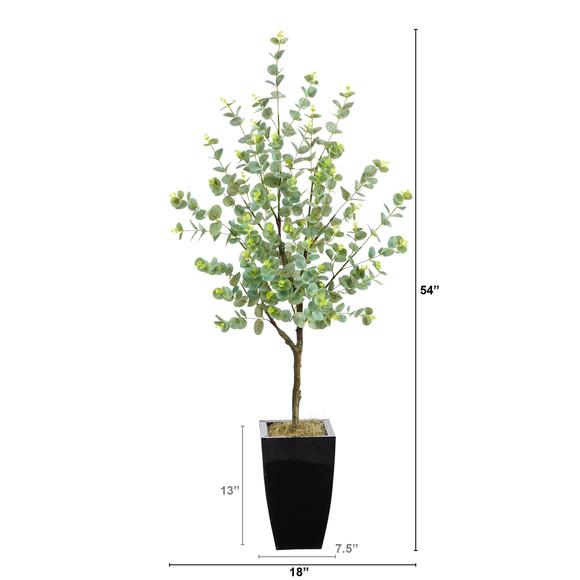 4.5 Eucalyptus Artificial Tree in Black Metal Planter - SKU #T2601 - 1