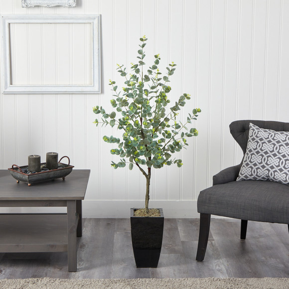 4.5 Eucalyptus Artificial Tree in Black Metal Planter - SKU #T2601 - 2