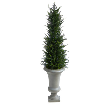 44 Cypress Artificial Tree in Sand Colored Urn UV Resistant Indoor/Outdoor - SKU #T2603