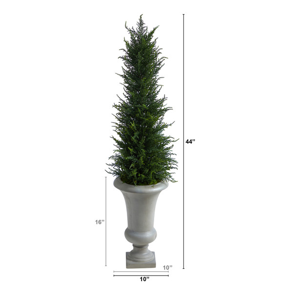 44 Cypress Artificial Tree in Sand Colored Urn UV Resistant Indoor/Outdoor - SKU #T2603 - 1