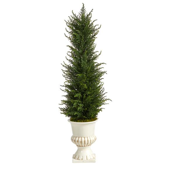 39 Cypress Artificial Tree in White Urn UV Resistant Indoor/Outdoor - SKU #T2604