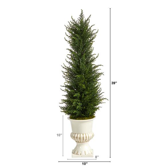 39 Cypress Artificial Tree in White Urn UV Resistant Indoor/Outdoor - SKU #T2604 - 1