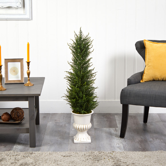 39 Cypress Artificial Tree in White Urn UV Resistant Indoor/Outdoor - SKU #T2604 - 2