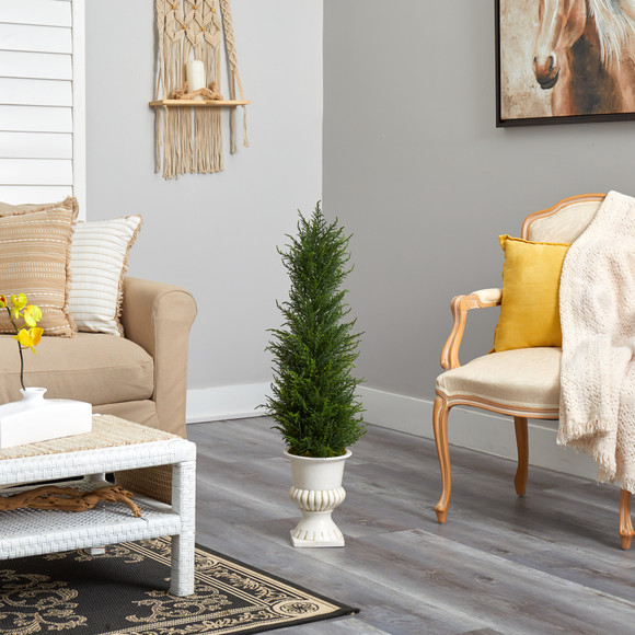39 Cypress Artificial Tree in White Urn UV Resistant Indoor/Outdoor - SKU #T2604 - 3