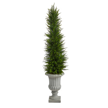 4.5 Cypress Artificial Tree in Decorative Urn UV Resistant Indoor/Outdoor - SKU #T2605