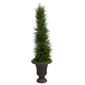 4 Cypress Artificial Tree in Charcoal Urn UV Resistant Indoor/Outdoor - SKU #T2606