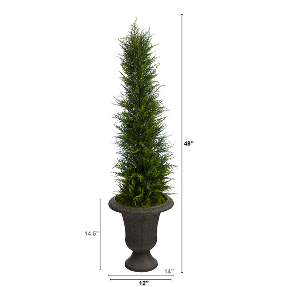 4 Cypress Artificial Tree in Charcoal Urn UV Resistant Indoor/Outdoor - SKU #T2606 - 1