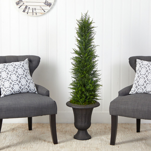 4 Cypress Artificial Tree in Charcoal Urn UV Resistant Indoor/Outdoor - SKU #T2606 - 2