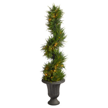 4.5 Spiral Cypress Artificial Tree in Charcoal Urn with 80 Clear LED Lights UV Resistant Indoor/Outdoor - SKU #T2608