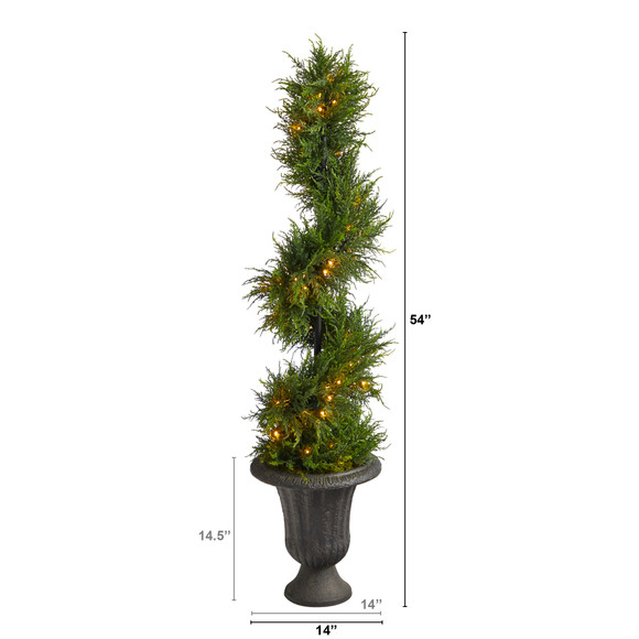 4.5 Spiral Cypress Artificial Tree in Charcoal Urn with 80 Clear LED Lights UV Resistant Indoor/Outdoor - SKU #T2608 - 1