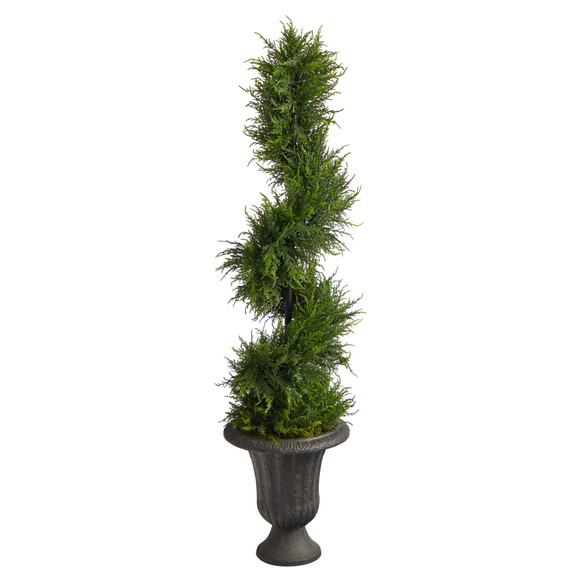 4.5 Spiral Cypress Artificial Tree in Charcoal Urn with 80 Clear LED Lights UV Resistant Indoor/Outdoor - SKU #T2608 - 2
