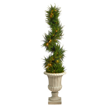 5 Spiral Cypress Artificial Tree in Sand Finished Urn with 80 Clear LED Lights UV Resistant Indoor/Outdoor - SKU #T2609