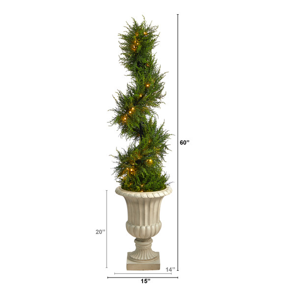 5 Spiral Cypress Artificial Tree in Sand Finished Urn with 80 Clear LED Lights UV Resistant Indoor/Outdoor - SKU #T2609 - 1