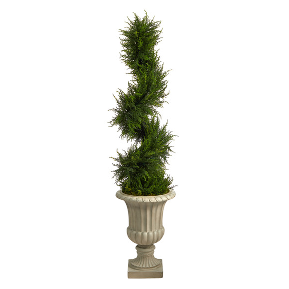 5 Spiral Cypress Artificial Tree in Sand Finished Urn with 80 Clear LED Lights UV Resistant Indoor/Outdoor - SKU #T2609 - 2