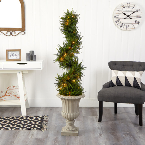 5 Spiral Cypress Artificial Tree in Sand Finished Urn with 80 Clear LED Lights UV Resistant Indoor/Outdoor - SKU #T2609 - 3
