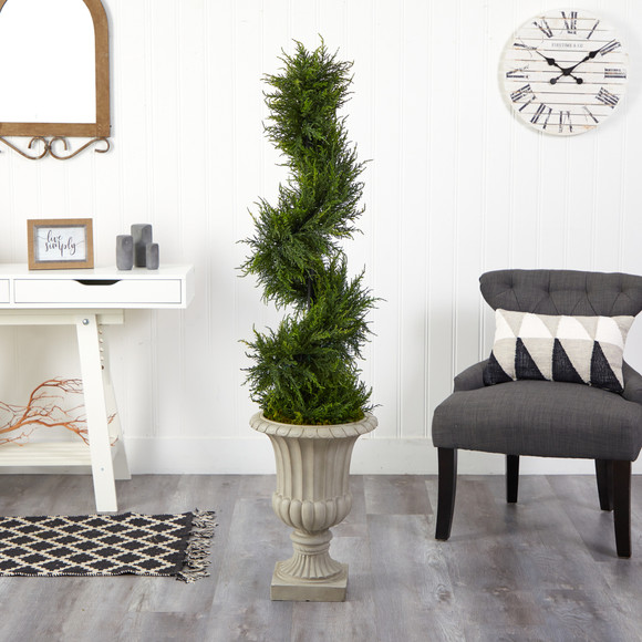 5 Spiral Cypress Artificial Tree in Sand Finished Urn with 80 Clear LED Lights UV Resistant Indoor/Outdoor - SKU #T2609 - 4