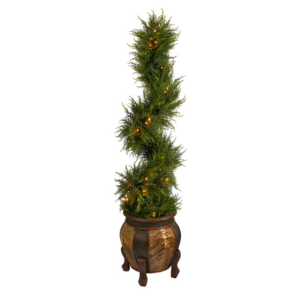 4.5 Spiral Cypress Artificial Tree in Decorative Planter with 80 Clear LED Lights UV Resistant Indoor/Outdoor - SKU #T2610