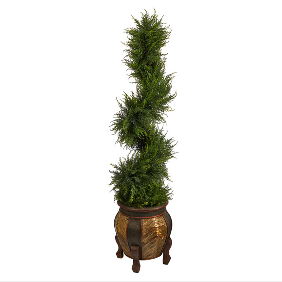 4.5 Spiral Cypress Artificial Tree in Decorative Planter with 80 Clear LED Lights UV Resistant Indoor/Outdoor - SKU #T2610 - 2