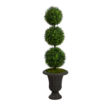 4 Boxwood Triple Ball Topiary Artificial Tree in Charcoal Urn Indoor/Outdoor - SKU #T2611