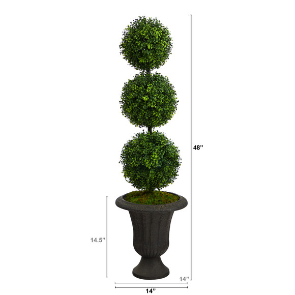 4 Boxwood Triple Ball Topiary Artificial Tree in Charcoal Urn Indoor/Outdoor - SKU #T2611 - 1