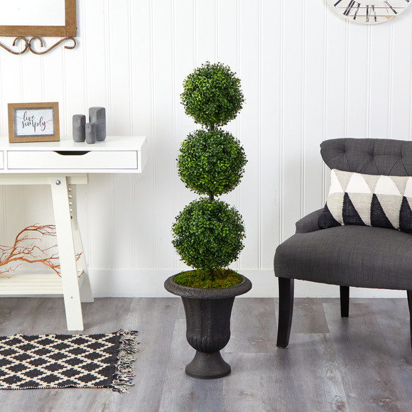 4 Boxwood Triple Ball Topiary Artificial Tree in Charcoal Urn Indoor/Outdoor - SKU #T2611 - 2
