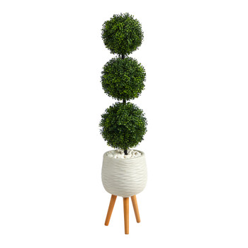 51 Boxwood Triple Ball Topiary Artificial Tree in White Planter with Stand Indoor/Outdoor - SKU #T2612