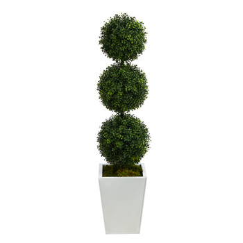 46 Boxwood Triple Ball Topiary Artificial Tree in White Metal Planter Indoor/Outdoor - SKU #T2614