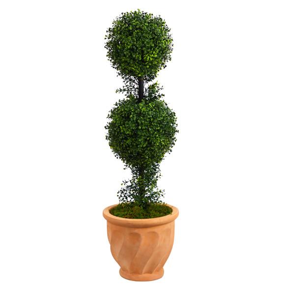 40 Boxwood Double Ball Topiary Artificial Tree in Terra-Cotta Planter Indoor/Outdoor - SKU #T2617