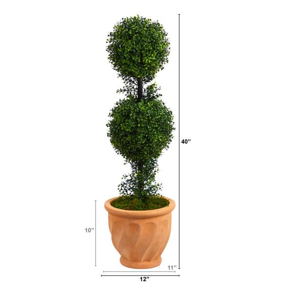 40 Boxwood Double Ball Topiary Artificial Tree in Terra-Cotta Planter Indoor/Outdoor - SKU #T2617 - 1