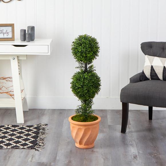 40 Boxwood Double Ball Topiary Artificial Tree in Terra-Cotta Planter Indoor/Outdoor - SKU #T2617 - 2