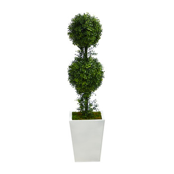 3.5 Boxwood Double Ball Topiary Artificial Tree in White Metal PlanterIndoor/Outdoor - SKU #T2618