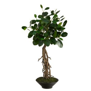 2 Ficus Bonsai Artificial Tree in Decorative Planter - SKU #T2793