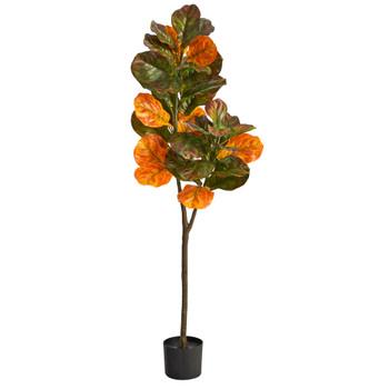 4.5 Autumn Fiddle Leaf Artificial Fall Tree - SKU #T2798