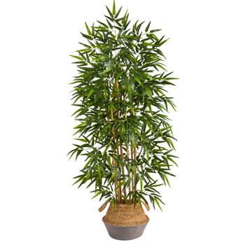 64 Bamboo Artificial Tree Natural Bamboo Trunks in Boho Chic Handmade Cotton Jute Gray Woven Planter - SKU #T2889