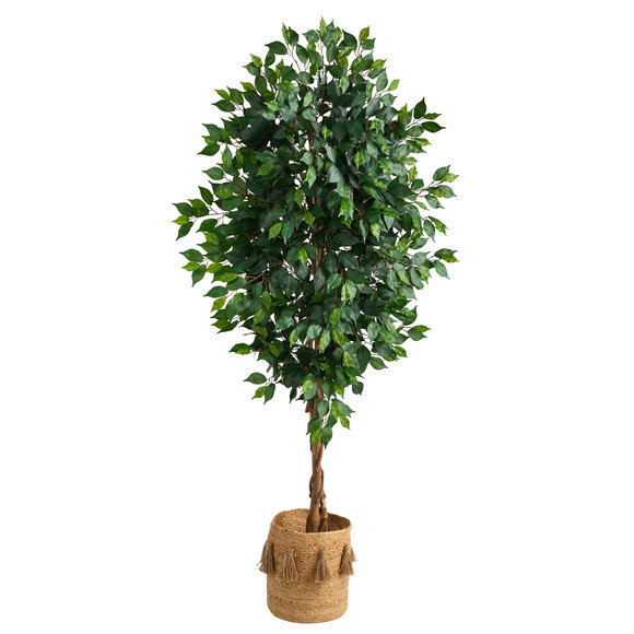 6 Ficus Artificial Tree with Natural Trunk in Handmade Natural Jute Planter with Tassels - SKU #T2890