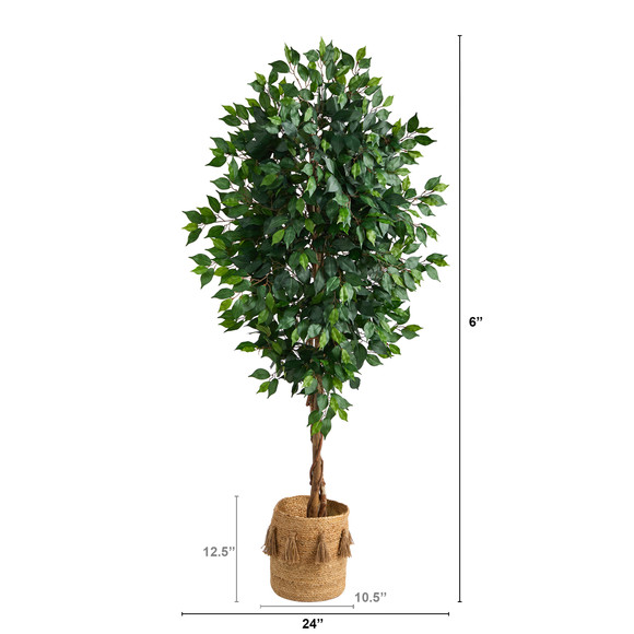 6 Ficus Artificial Tree with Natural Trunk in Handmade Natural Jute Planter with Tassels - SKU #T2890 - 1