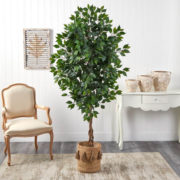 6 Ficus Artificial Tree with Natural Trunk in Handmade Natural Jute Planter with Tassels - SKU #T2890 - 2