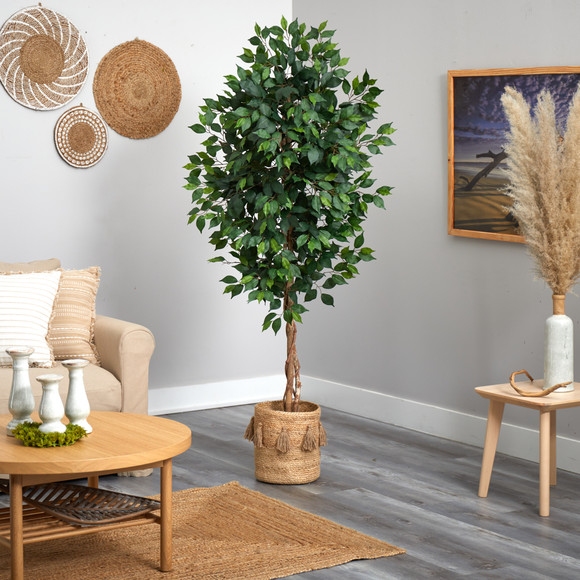 6 Ficus Artificial Tree with Natural Trunk in Handmade Natural Jute Planter with Tassels - SKU #T2890 - 3