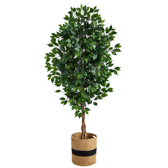 6 Ficus Artificial Tree with Natural Trunk in Handmade Natural Cotton Planter - SKU #T2891
