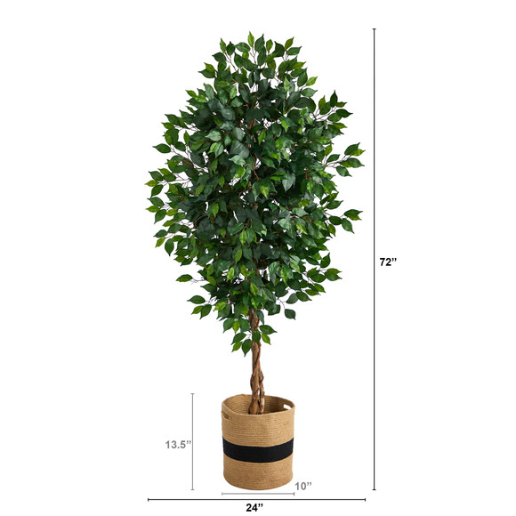 6 Ficus Artificial Tree with Natural Trunk in Handmade Natural Cotton Planter - SKU #T2891 - 1