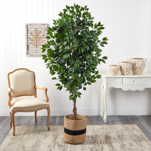 6 Ficus Artificial Tree with Natural Trunk in Handmade Natural Cotton Planter - SKU #T2891 - 2