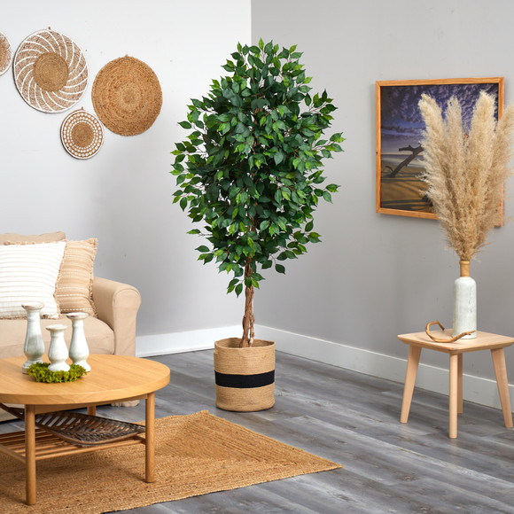6 Ficus Artificial Tree with Natural Trunk in Handmade Natural Cotton Planter - SKU #T2891 - 3