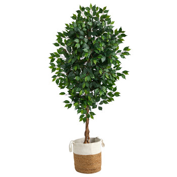 6 Ficus Artificial Tree with Natural Trunk in Handmade Natural Jute and Cotton Planter - SKU #T2892